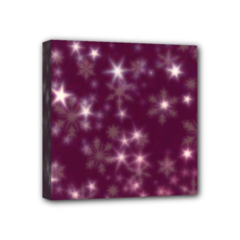 Blurry Stars Plum Mini Canvas 4  X 4