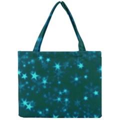 Blurry Stars Teal Mini Tote Bag