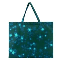 Blurry Stars Teal Zipper Large Tote Bag