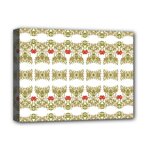 Striped Ornate Floral Print Deluxe Canvas 16  X 12