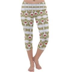 Striped Ornate Floral Print Capri Yoga Leggings
