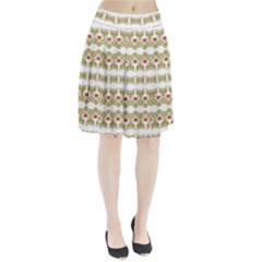 Striped Ornate Floral Print Pleated Skirt