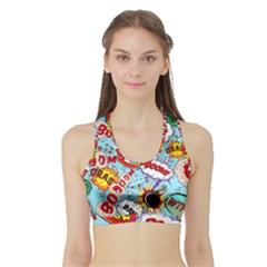 Comic Pattern Sports Bra With Border