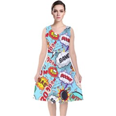 Comic Pattern V Neck Midi Sleeveless Dress