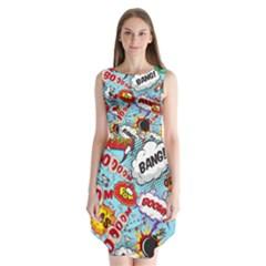 Comic Pattern Sleeveless Chiffon Dress