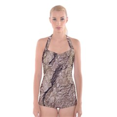 Tree Bark B Boyleg Halter Swimsuit