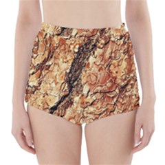 Tree Bark D High Waisted Bikini Bottoms