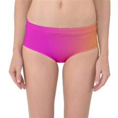 Pink Orange Yellow Ombre  Mid Waist Bikini Bottoms