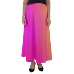 Pink Orange Yellow Ombre  Flared Maxi Skirt