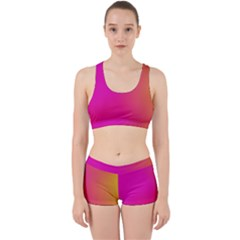 Pink Orange Yellow Ombre  Work It Out Sports Bra Set