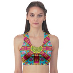 Sunny And Bohemian Sun Shines In Colors Sports Bra