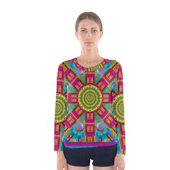 Sunny And Bohemian Sun Shines In Colors Women s Long Sleeve Tee