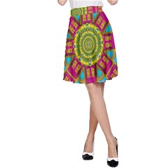Sunny And Bohemian Sun Shines In Colors A Line Skirt
