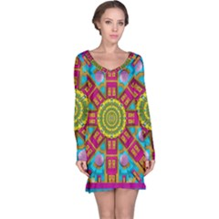 Sunny And Bohemian Sun Shines In Colors Long Sleeve Nightdress