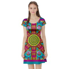 Sunny And Bohemian Sun Shines In Colors Short Sleeve Skater Dress