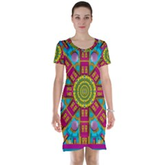 Sunny And Bohemian Sun Shines In Colors Short Sleeve Nightdress