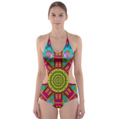 Sunny And Bohemian Sun Shines In Colors Cut Out One Piece Swimsuit