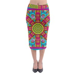Sunny And Bohemian Sun Shines In Colors Midi Pencil Skirt