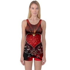 Wonderful Heart With Wings, Decorative Floral Elements One Piece Boyleg Swimsuit