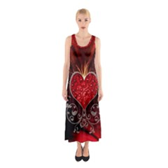 Wonderful Heart With Wings, Decorative Floral Elements Sleeveless Maxi Dress