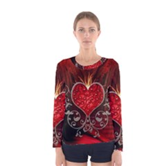 Wonderful Heart With Wings, Decorative Floral Elements Women s Long Sleeve Tee