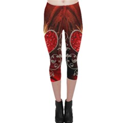Wonderful Heart With Wings, Decorative Floral Elements Capri Leggings