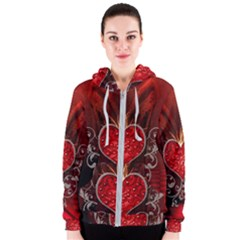Wonderful Heart With Wings, Decorative Floral Elements Women s Zipper Hoodie