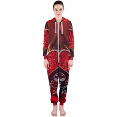 Wonderful Heart With Wings, Decorative Floral Elements Hooded Jumpsuit (ladies)
