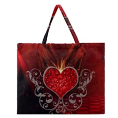 Wonderful Heart With Wings, Decorative Floral Elements Zipper Large Tote Bag