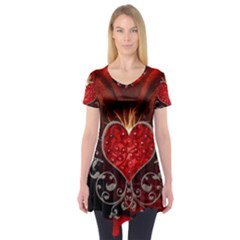 Wonderful Heart With Wings, Decorative Floral Elements Short Sleeve Tunic