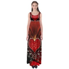 Wonderful Heart With Wings, Decorative Floral Elements Empire Waist Maxi Dress