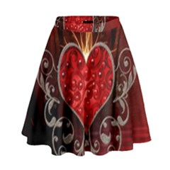 Wonderful Heart With Wings, Decorative Floral Elements High Waist Skirt