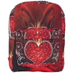 Wonderful Heart With Wings, Decorative Floral Elements Full Print Backpack