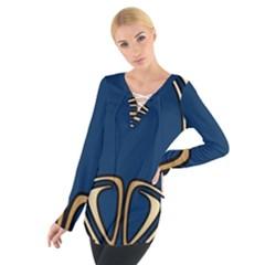 Art Nouveau,vintage,floral,belle ¨|poque,elegant,blue,gold,art Deco,modern,trendy Tie Up Tee