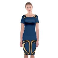 Art Nouveau,vintage,floral,belle ¨|poque,elegant,blue,gold,art Deco,modern,trendy Classic Short Sleeve Midi Dress