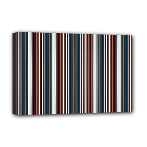 Pear Blossom Teal Orange Brown Coordinating Stripes  Deluxe Canvas 18  X 12