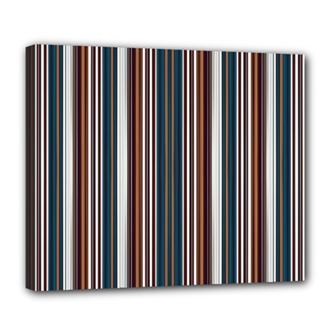 Pear Blossom Teal Orange Brown Coordinating Stripes  Deluxe Canvas 24  X 20