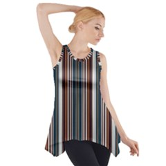 Pear Blossom Teal Orange Brown Coordinating Stripes  Side Drop Tank Tunic