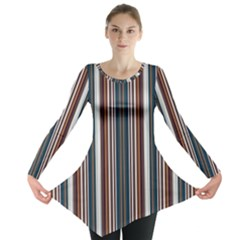 Pear Blossom Teal Orange Brown Coordinating Stripes  Long Sleeve Tunic