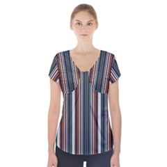Pear Blossom Teal Orange Brown Coordinating Stripes  Short Sleeve Front Detail Top