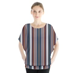 Pear Blossom Teal Orange Brown Coordinating Stripes  Blouse