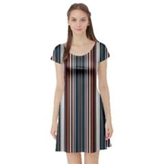 Pear Blossom Teal Orange Brown Coordinating Stripes  Short Sleeve Skater Dress