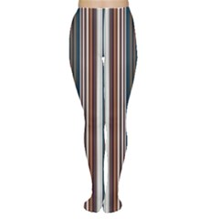 Pear Blossom Teal Orange Brown Coordinating Stripes  Women s Tights