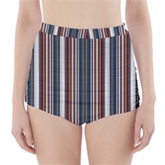 Pear Blossom Teal Orange Brown Coordinating Stripes  High Waisted Bikini Bottoms