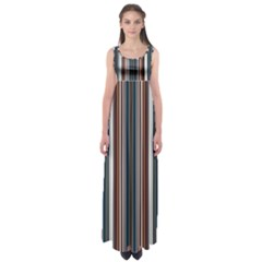 Pear Blossom Teal Orange Brown Coordinating Stripes  Empire Waist Maxi Dress