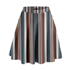 Pear Blossom Teal Orange Brown Coordinating Stripes  High Waist Skirt