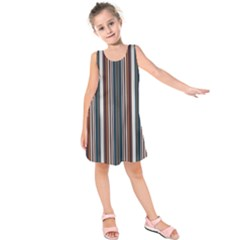Pear Blossom Teal Orange Brown Coordinating Stripes  Kids  Sleeveless Dress