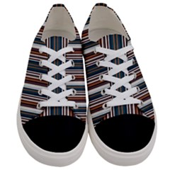 Pear Blossom Teal Orange Brown Coordinating Stripes  Women s Low Top Canvas Sneakers