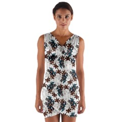 Pear Blossom Teal Orange Brown  Wrap Front Bodycon Dress