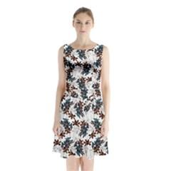 Pear Blossom Teal Orange Brown  Sleeveless Waist Tie Chiffon Dress